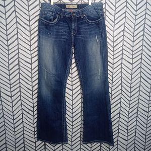 BKE Kate Jeans Denim Midrise Distressed Rhinestone Pockets